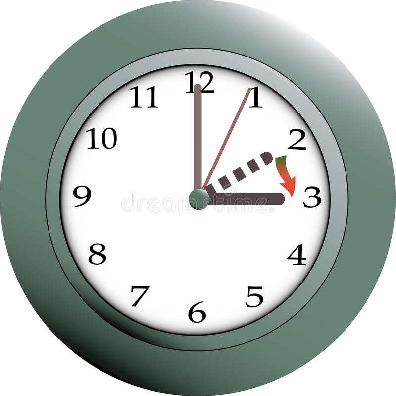 Daylight saving. Time clock with guideline how to set summertime royalty free illustration