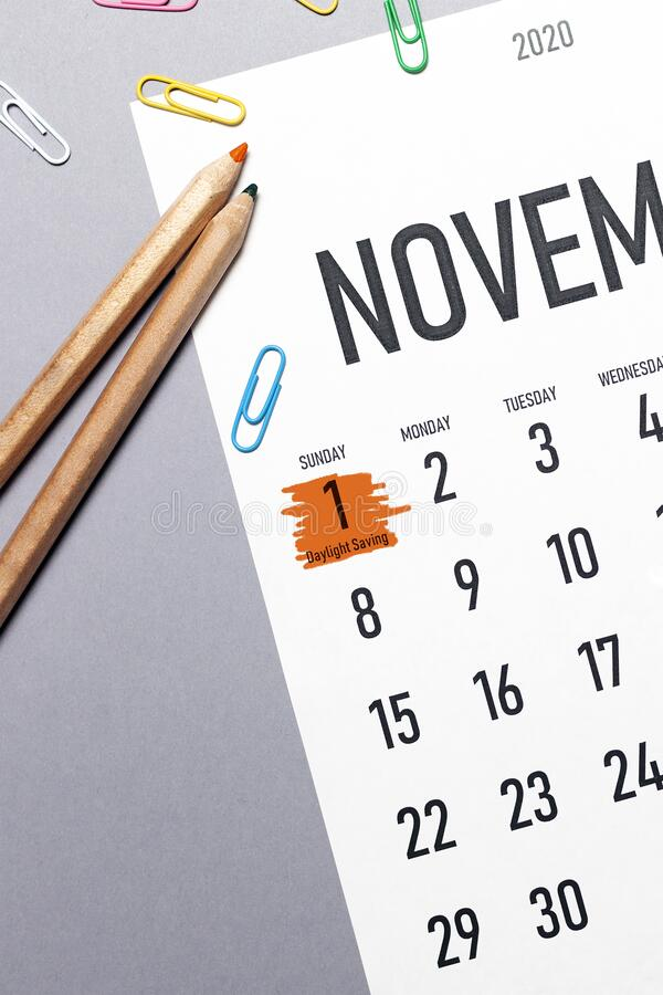 Free Daylight Saving Day Marked On November 2020 Calendar Stock Photos - 173471043