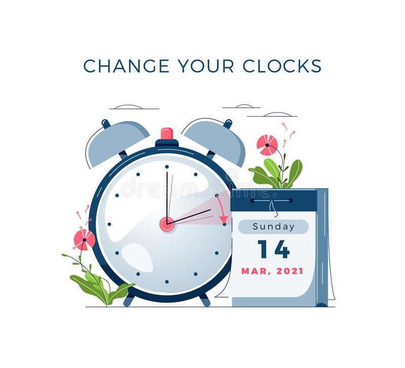 Free Daylight Saving Time Begins Concept. The Clocks Moves Forward One Hour. DST Begins In USA. Flat Design Vector Royalty Free Stock Photos - 207183828