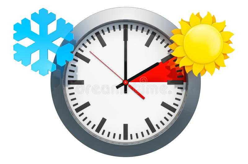 Daylight Saving Time concept. 3D rendering. Isolated on white background royalty free illustration