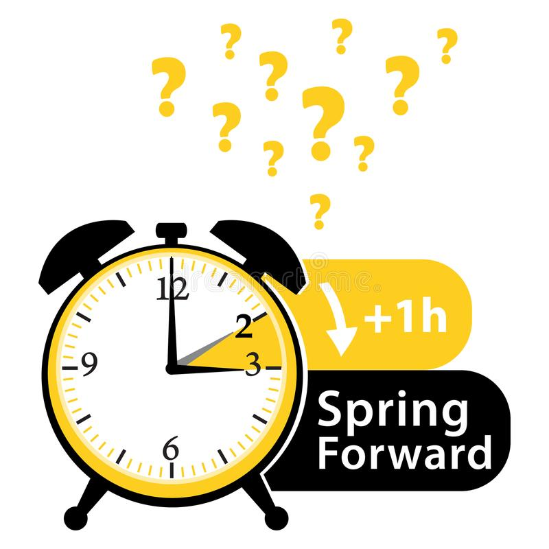 Daylight saving time date question. Spring forward. Colorful summer time alarm clock. Colorful illustration. royalty free illustration