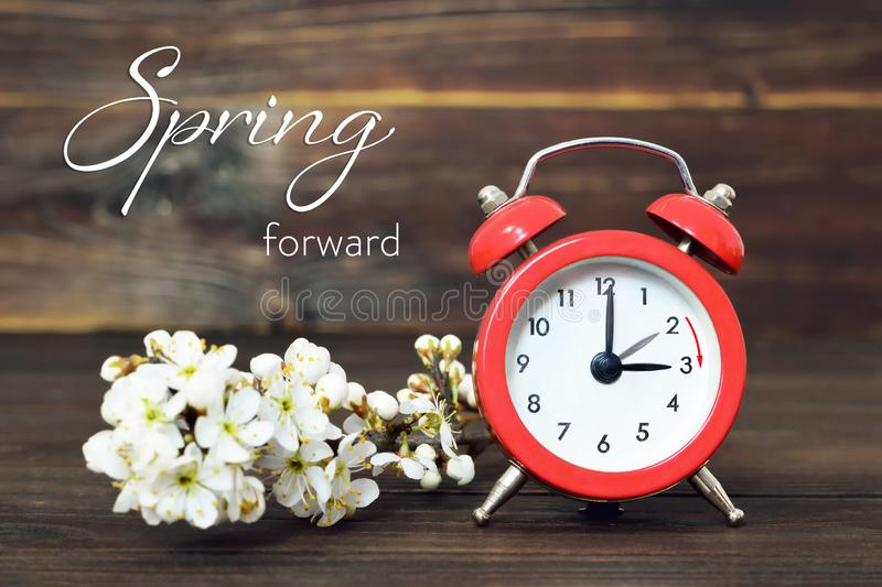 Daylight Saving Time, Spring forward, Summer Time change. Concept royalty free stock image
