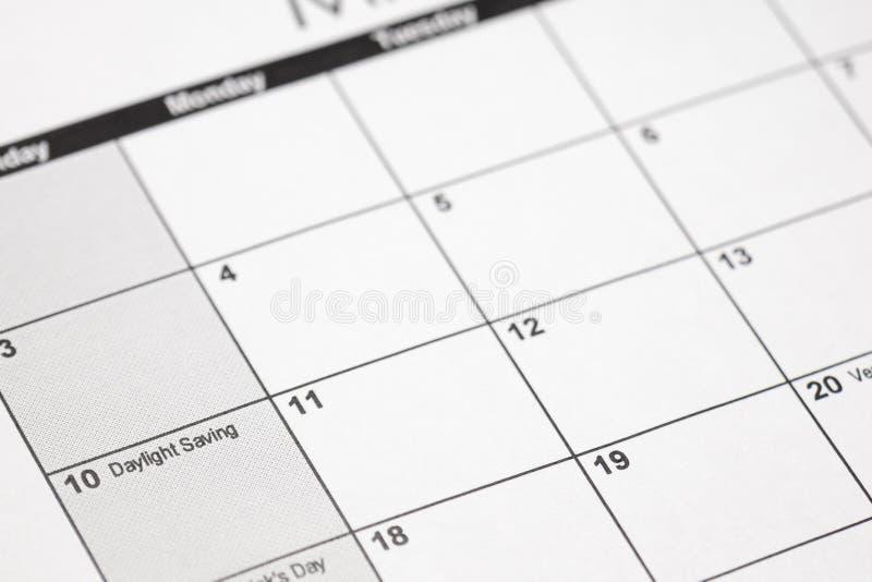 Daylight savings 2019 on calendar. Spring Forward Time - Savings Daylight royalty free stock photography