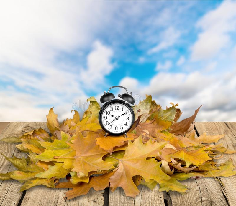 Daylight Savings Time. Autumn Clock Time Leaf Season Spring royalty free stock image