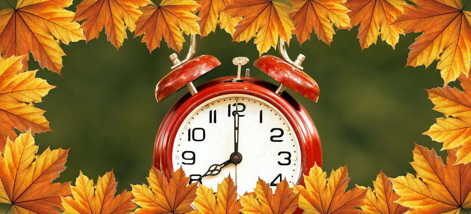 Daylight savings time in autumn - web banner royalty free stock photos