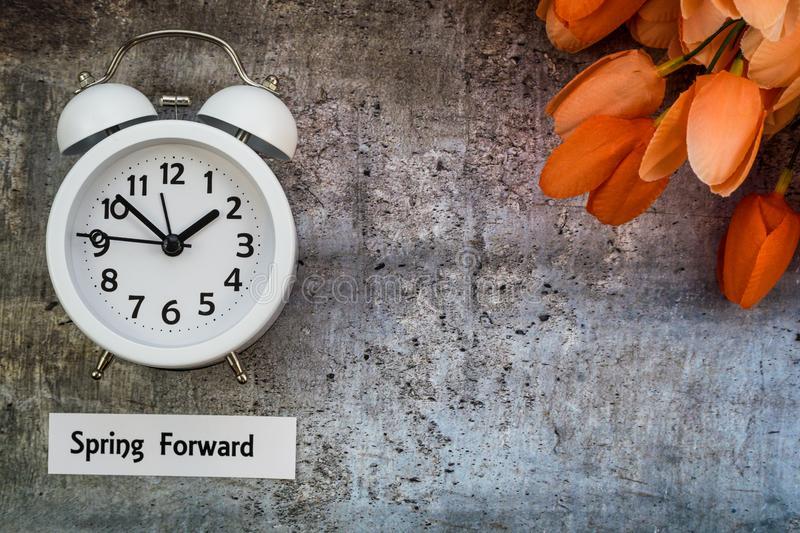 Daylight Savings Time Spring Forward concept flat lay stock photo