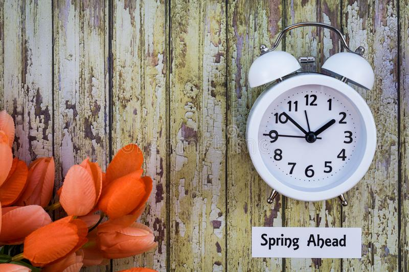 Daylight Savings Time Spring Ahead concept top down view with white clock and orange tulips royalty free stock photography