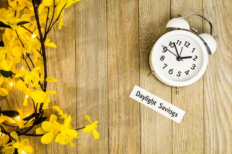 Daylight Savings Time Spring concept top down view stock images