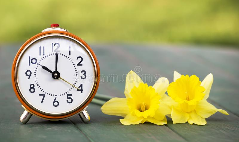 Daylight savings time, spring forward - alarm clock and easter flowers. Daylight savings time, spring forward - web banner of a retro alarm clock and easter stock photos