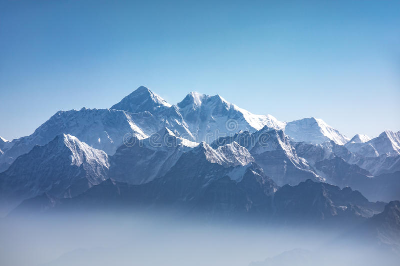 Daylight view of Mount Everest. royalty free stock images