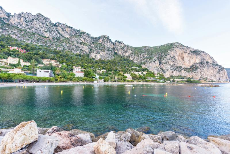 Daylight view to blue sea from Beaulieu-sur-Mer resort royalty free stock photography