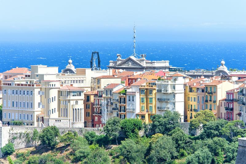 Daylight view to old town with oceanography museum, apartments a. Nd buildings. Bright blue clear sky. Negative copy space, place for text. Monte Carlo, Monaco royalty free stock photos