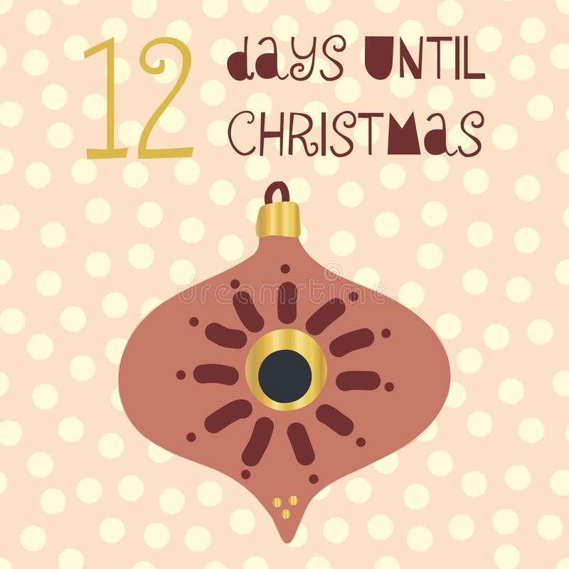 12 Days until Christmas vector illustration. Christmas countdown twelve days til Santa. Vintage Scandinavian style. Hand drawn vector illustration
