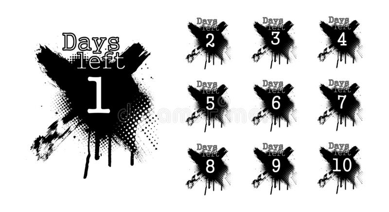 Number days left, countdown in dirty spray style stock illustration