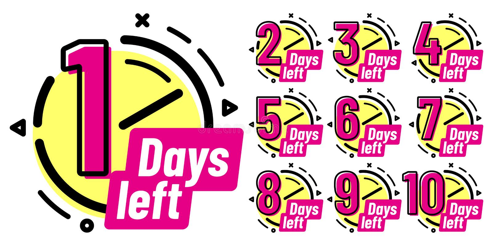 Days left badges. Going countdown sign, one day left badge and business date count label isolated vector illustration. Days left badges. Going countdown sign royalty free illustration