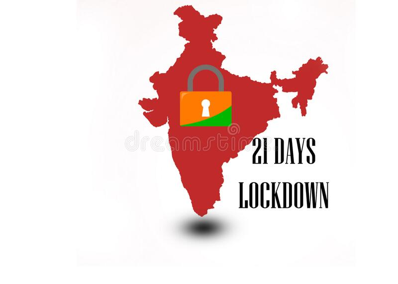 21 days lock down in India India`s prime minister ordered that. 21 days lock down in India fighting against corona virus or COVID-19. India`s prim minister stock illustration