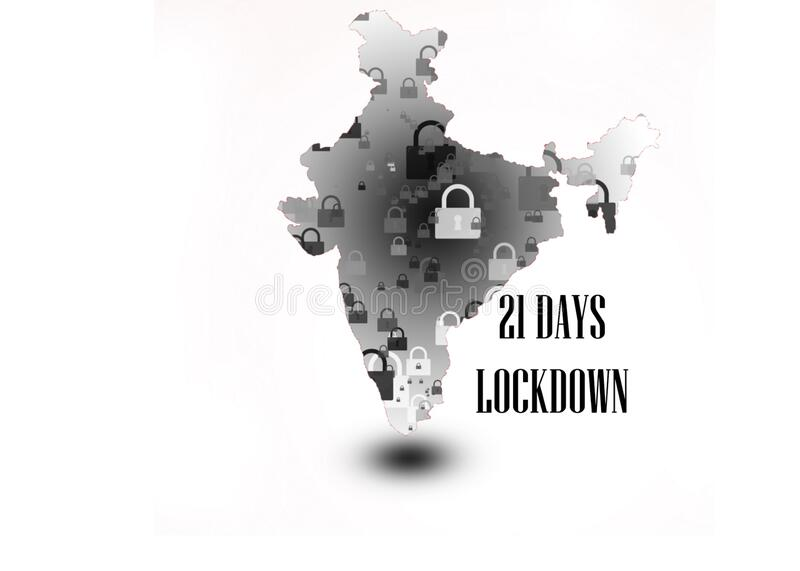 21 days lock down in India India`s prime minister ordered that. 21 days lock down in India fighting against corona virus or COVID-19. India`s prim minister stock image