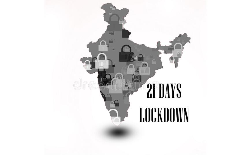 21 days lock down in India India`s prime minister ordered that. 21 days lock down in India fighting against corona virus or COVID-19. India`s prim minister royalty free stock image