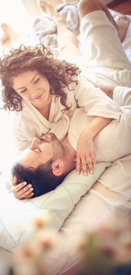 Days to enjoy in bed. stock photos