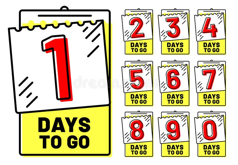 Days to go badges. Countdown badge, number of day left and going timestamp isolated vector illustration set royalty free illustration