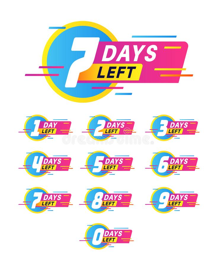 Days to go badges. Product promotion, big deal banner. Limited offer with timer, countdown sale label with day left. Numbers vector special stamp stickers stock illustration