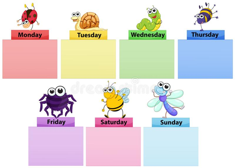 Days of the week banner template with colorful bugs vector illustration