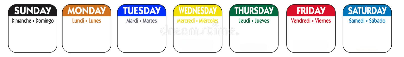 Days of the week royalty free illustration
