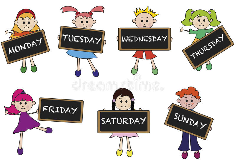 Days of week. Illustration of days of week with children