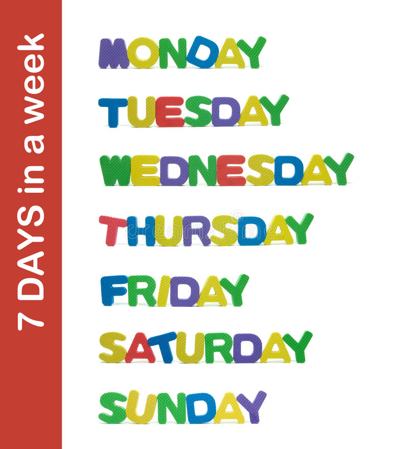 Download 7 Days In A Week Letter Stock Image. Image Of Week, Saturday
