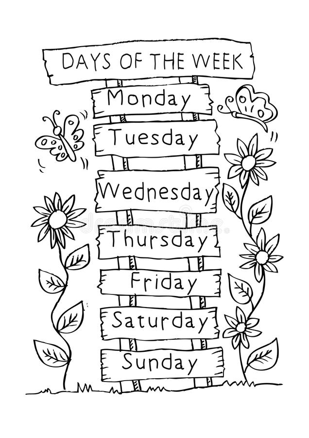 Days Of The Week With Name Plate. Stock Illustration ... (636 x 900 Pixel)