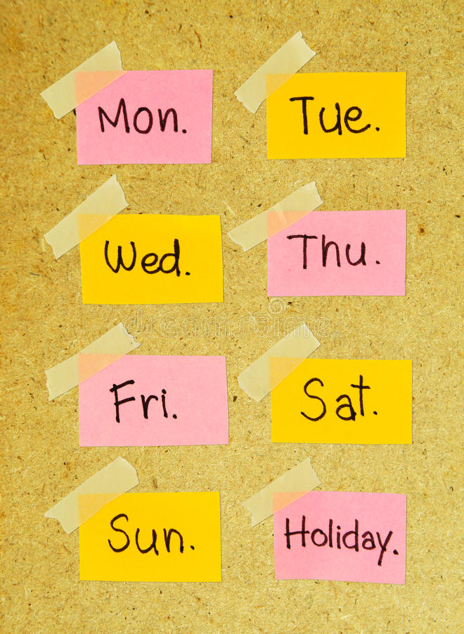 Days of the week note with masking tape royalty free stock photos