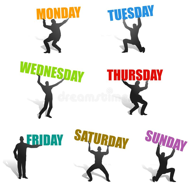 Days of The Week Silhouettes royalty free illustration