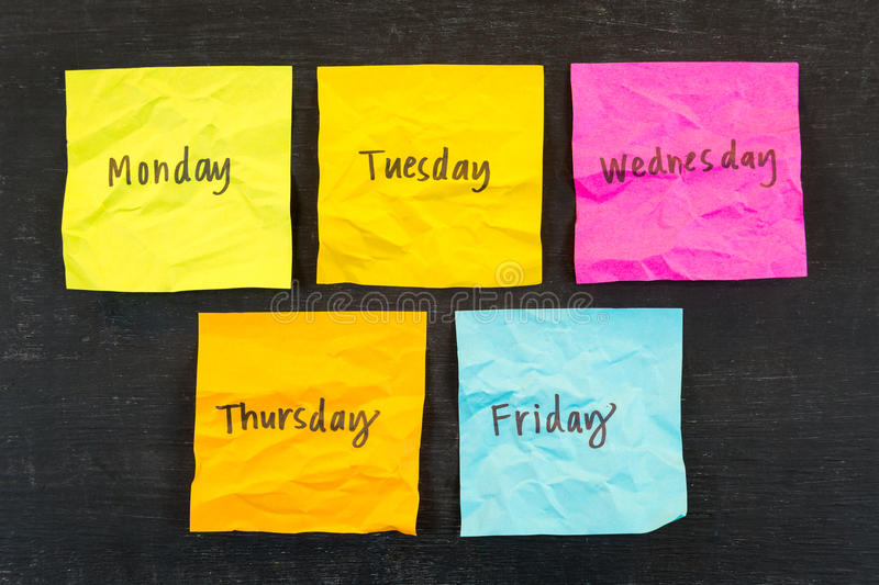 Days of Week Sticky Notes royalty free stock photo