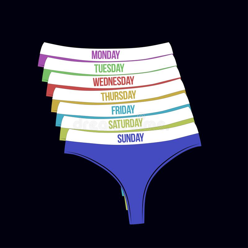 Days of the week woman panties set. Different colors cute thongs isolated on black background. royalty free illustration