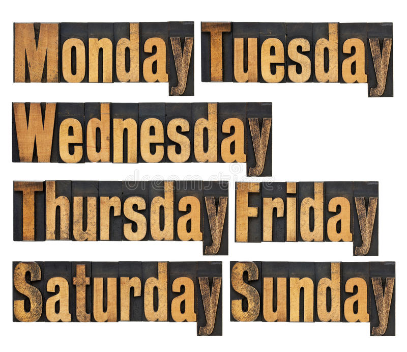 Download Days of week in wood type stock image. Image of block - 23536913