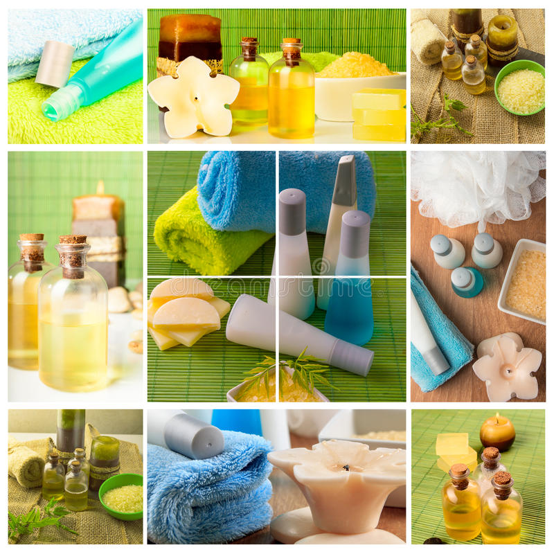 Dayspa concept. Spa Collage.Dayspa concept, bath oil, aromatherapy candles, soft towels stock images