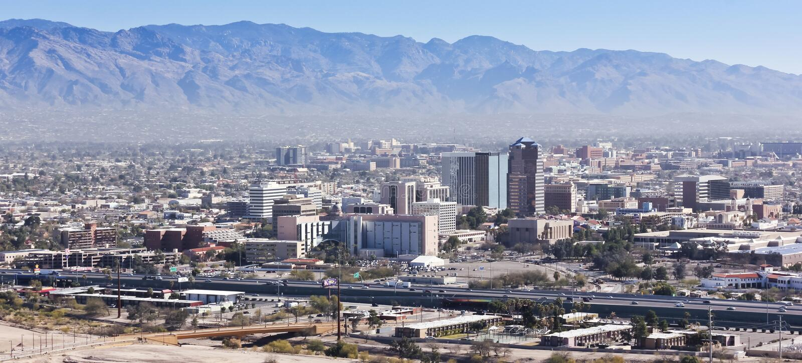 An Aerial Shot of Downtown Tucson, Arizona. A Daytime Aerial Shot of Interstate 10, Downtown Tucson, Arizona, and the Santa Catalina Mountains royalty free stock images