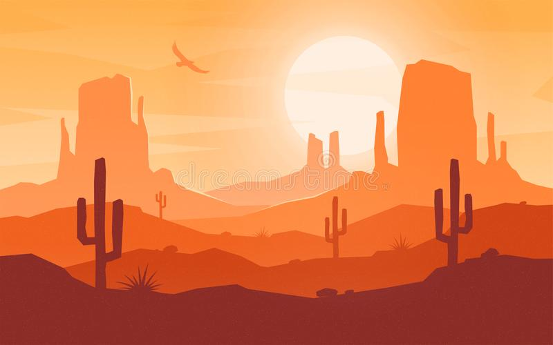 Daytime cartoon flat style desert landscape. Vector illustration royalty free illustration
