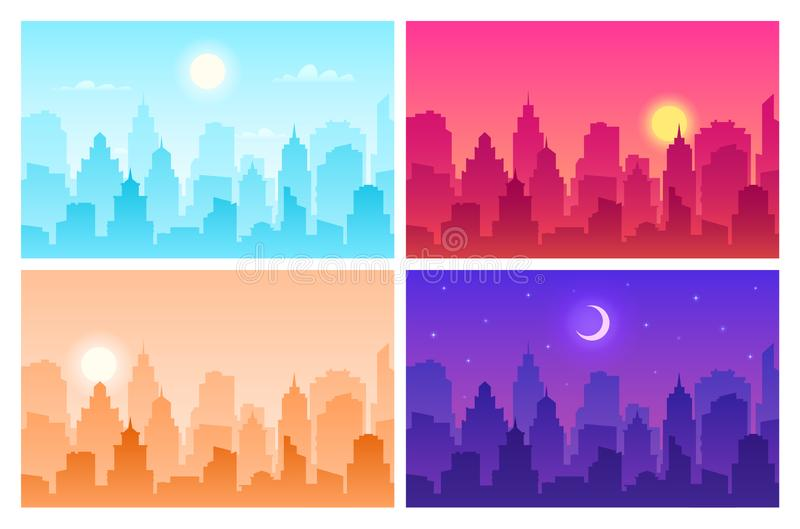 Daytime cityscape. Panoramic urban landscape in different time. Skyscrapers, building silhouettes in day, morning and. Night vector view scape modern skyline royalty free illustration