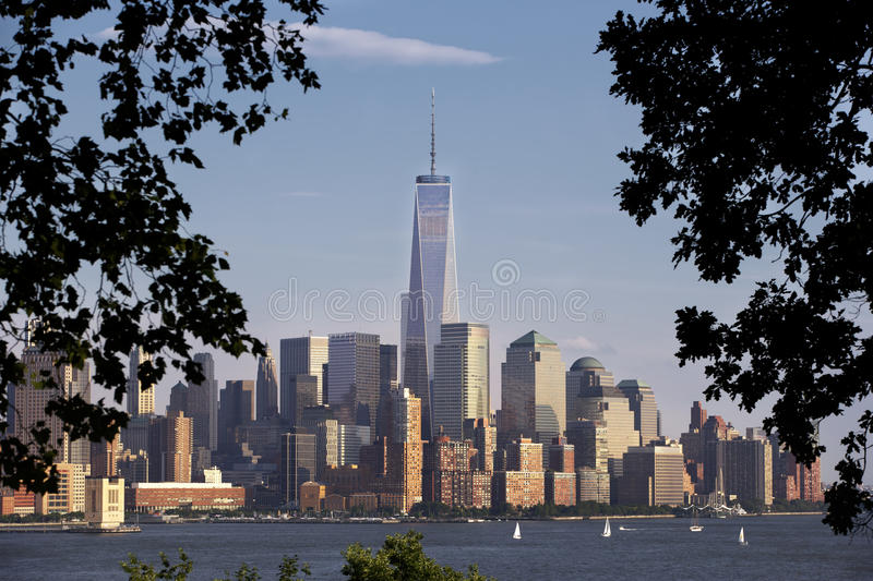 Daytime Photo of New York City Skyline. Horizontal photo of the Freedom Tower framed by trees royalty free stock photo