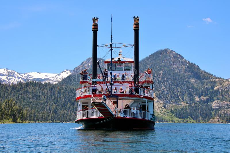 Daytime Scenic Cruise on Lake Tahoe. M.S. Dixie II riverboat departs from historic Zephyr Cove, Nevad, for 2.5-hour scenic daytime cruise. While cruising to stock photography