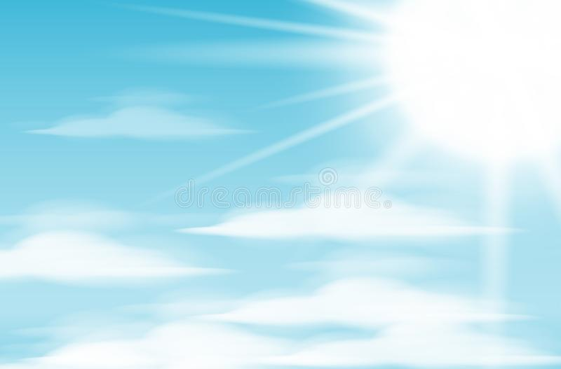 Daytime sky background with full moon, clouds and sun. vector illustration