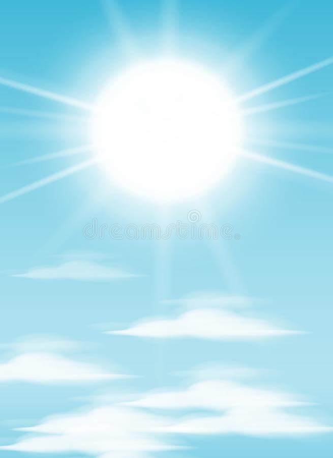 Daytime sky background with full moon, clouds and sun. sunlight morning. Vector royalty free illustration