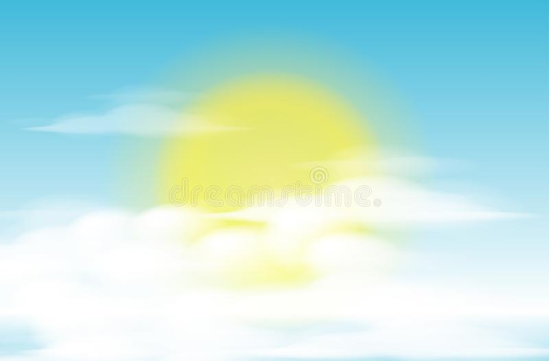 Daytime sky background with full moon, clouds and sun. sunlight morning royalty free illustration