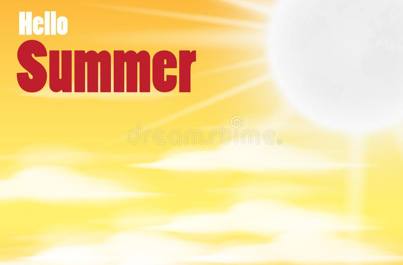 Daytime sky background with Summer, clouds and sun. sunlight morning vector illustration