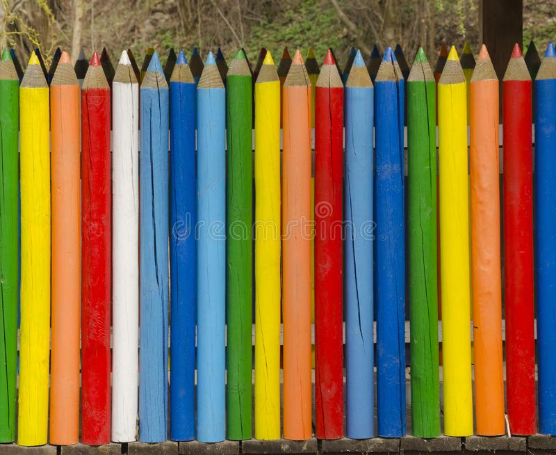 Color crayon fence royalty free stock photo