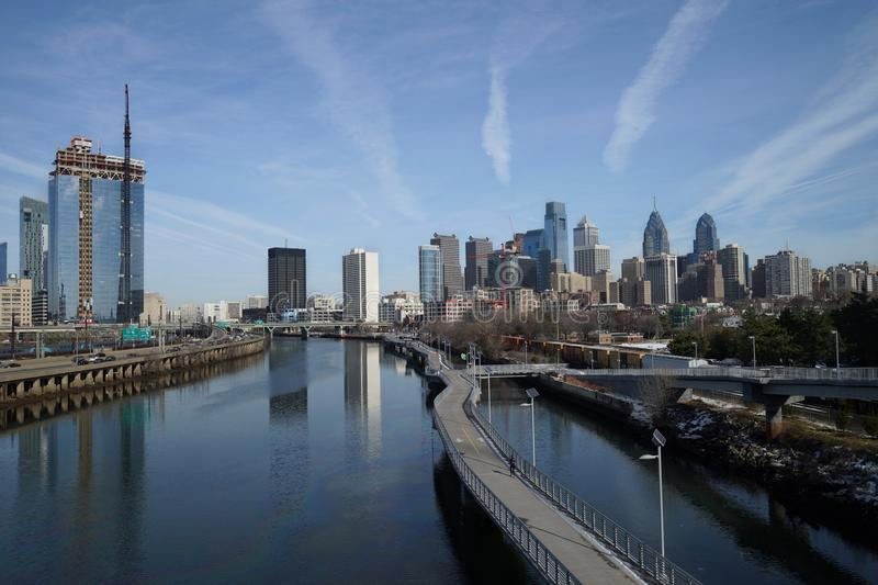 Daytime view over downtown Philadelphia from Schuylkill river side. royalty free stock images