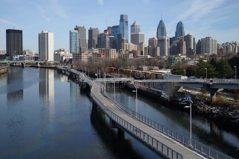 Daytime view over downtown Philadelphia from Schuylkill river side. Daytime winter view over downtown Philadelphia from Schuylkill river side royalty free stock photography
