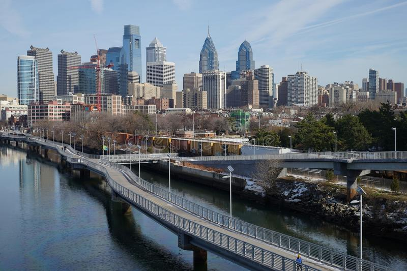 Daytime view over downtown Philadelphia from Schuylkill river side. Daytime winter view over downtown Philadelphia from Schuylkill river side stock photo