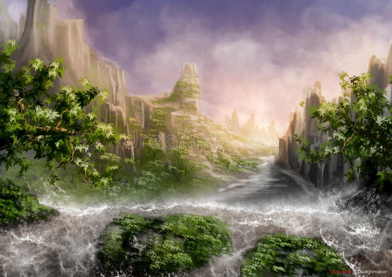 Daytime. At the waterfalls you can use as a background stock illustration